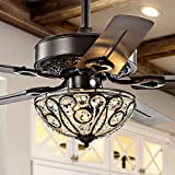 JONATHAN Y JYL9704A Classic Ali 3-Light Fandelier with Remote, Wrought Iron LED Ceiling Fan, 48', Oil Rubbed Bronze