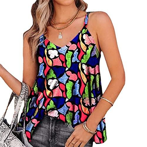 Elesoon Camisola de verano para mujer con estampado geométrico de colores, sin mangas, con cuello en V, A-azul marino, 40