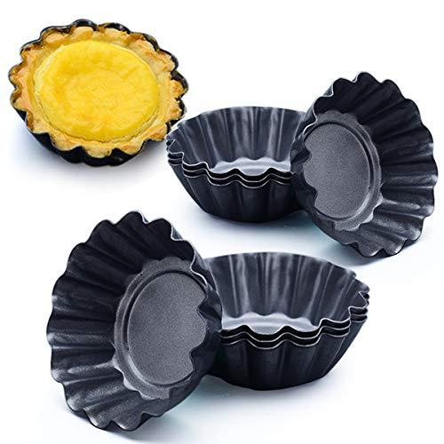 Amytalk 12 Packs Egg Tart Mold Upgrade Bigger Size 3 x 09inch Cupcake Cake Muffin Mold Tin Pan Baking Tool Carbon Steel