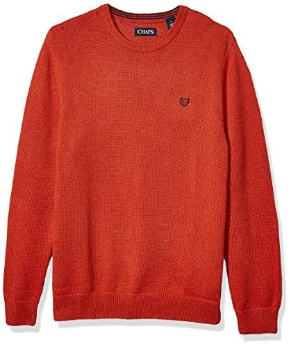 Chaps Men's Classic Fit Cotton Crewneck Sweater, Hunting Orange Heather, M