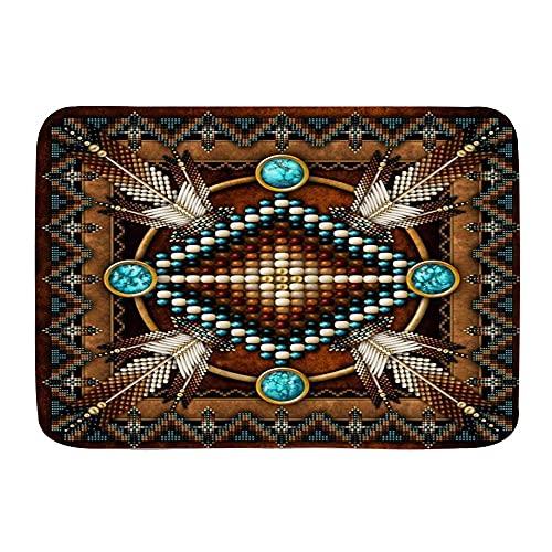ZOMOY Tapis de Bain,Style amérindien,Tapis de Bain antidérapant hautement Absorbant