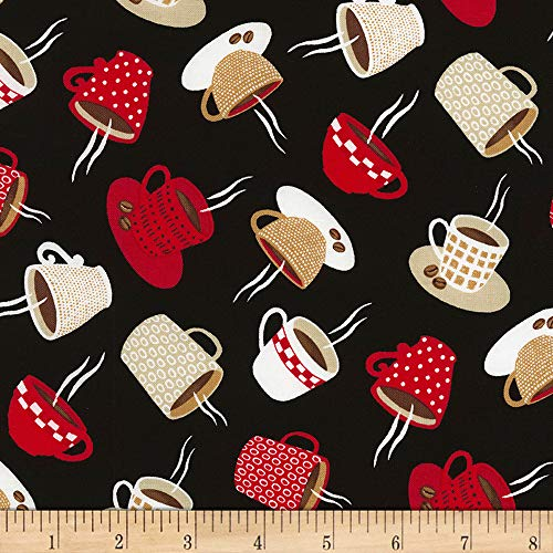 Timeless Treasures Coffee Break Tossed Coffee Mugs Fabric, Black, Fabric By The Yard