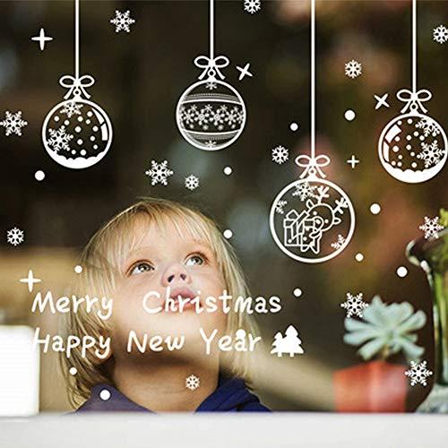 Demiawaking Vetrofanie Natale Per Finestre Adesivi Natalizi Per Vetri Removibili Adesivi Murali Fai Da Te Decalcomanie Decorazioni Natalizie Per Finestre (Palline Di Natale)