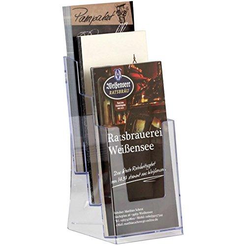 kaufdeinschild 3-Fach Ständer 1/3A4 (99 x 297 mm) Ständer Wandhalter Prospekthalter Prospektständer Acryl Hochformat