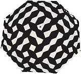 Ombrello manuale a tre pieghe Imbuto Motivo geometrico a reticolo Griglia irregolare Nano Ombrello pieghevole a tre ante impermeabile Protezione solare Copertura sole e pioggia