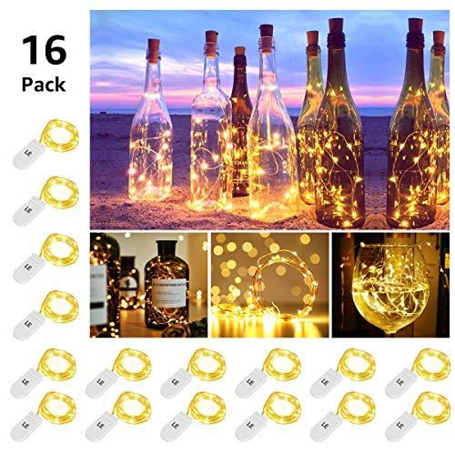 LE Luces de Botella de Vino Guirnaldas Luces LED, 16 x 1m 20 LED, Blanco Cálido, a Pilas, Decoración de casa, Boda, Fiestas, Navidad, Jardines etc