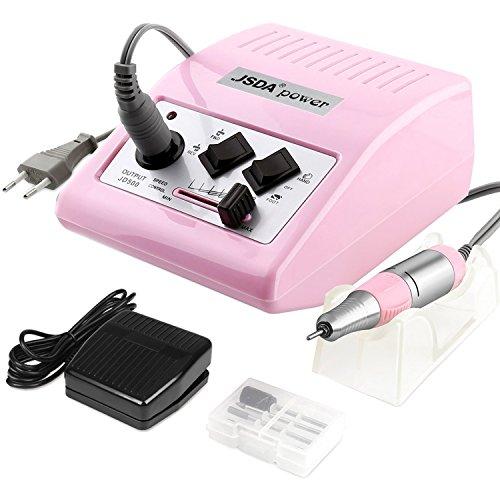 JSDA torno para uñas profesional 30000 rpm con pedal, potente, 4 fresas, baja vibración, bajo nivel de ruido, manicura y pedicura para quitar esmalte de uñas, gel y cutículas sin dañar las uñas, rosa