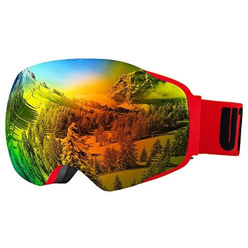 UTOBEST Sphärische Skibrille Rahmenlose OTG Snowboardbrille, UV400 Schutz für Herren und Damen(Mattrot-VLT23%)