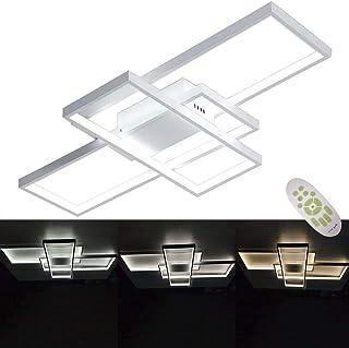 Plafón LED regulable con mando a distancia, lámpara de techo para salón, cocina, oficina, dormitorio, pasillo, baño, moderno, rectangular, 3 luces, pantalla de acrílico de 90 x 50 cm, color blanco