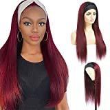 Seelaak 18 Inch Straight Headband Wigs for Black Women 100% Human Hair Ombre 99j Burgundy Color None Lace Front Wigs 150% Density Straight Machine Made Headband Wigs