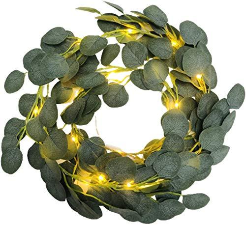Kunstpflanze Künstliche Eukalyptus-Girlande aus Kunstseide, handgefertigt, Grün Blätter für Vintage Deko, Fensterdeko, Hochzeit Deko, Tischdeko, 20 LEDs, 2m
