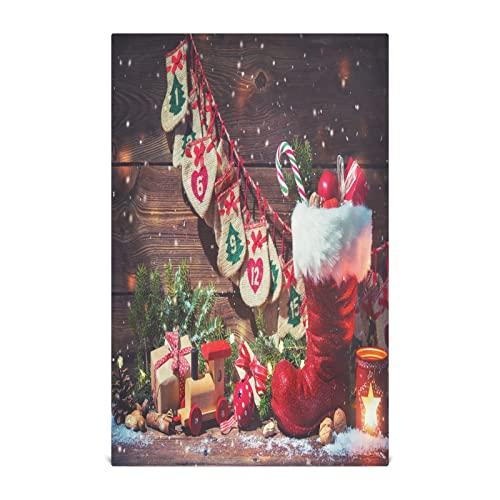 xigua 4 toallas de cocina con calendario de Adviento y zapatos de Papá Noel, absorbentes y suaves, toallas de mano reutilizables, paño de limpieza de secado rápido, toallas de té, 45,7 x 71,1 cm