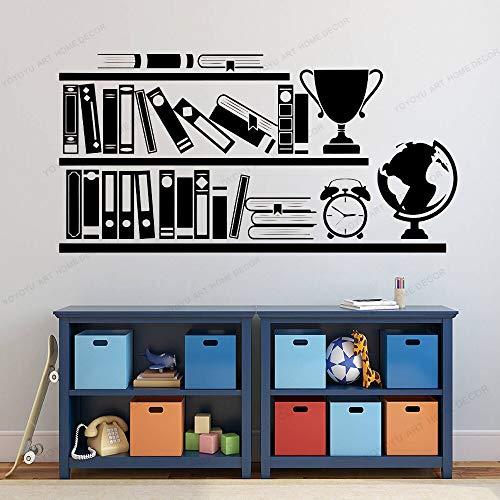 Vinyl art boekenplank ontwerp muur muurschildering kinderkamer decoratie plank houder muursticker leeshoek decoratie muur <> 84x42cm