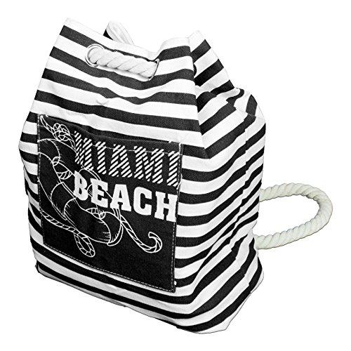 Tischdeckenshop24 Maritimer Rucksack Beach mit Kordel, im trendigen Look, 36x26 cm, schwarz