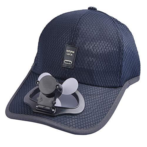Unisex USB Charging Belt Fan Baseball Golf Hat Storage Belt Switch Fan Cap Sun hat Peaked Cap/Panel on The Cap Front Hat(Navy)