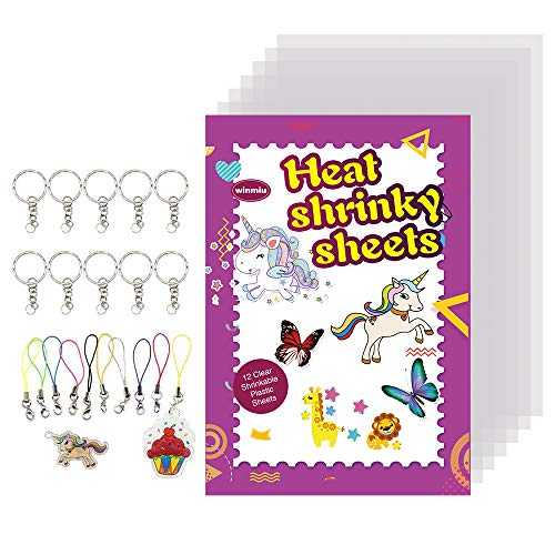 WINMIU Shrinky Dink Sheets Clear - 32 Pcs DIY Shrinky Art Paper Kits for Kids, Boys and Girls Include 12-Pack Heat Shrink Plastic Sheets Blank with Clear Cover Film, Traceable Pictures and Keychains