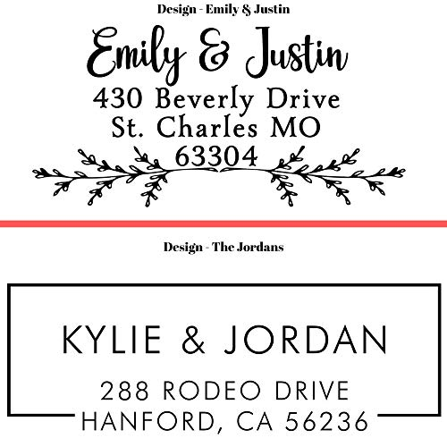 20 Designs to Choose!! Personalized - Address Stamp - Customized Stamp - Self-Inking Return Address Mail 3 Lines Custom Address Stamper - Black Red Blue Purple Green Ink - Wedding Invitation Stamp Photo #4