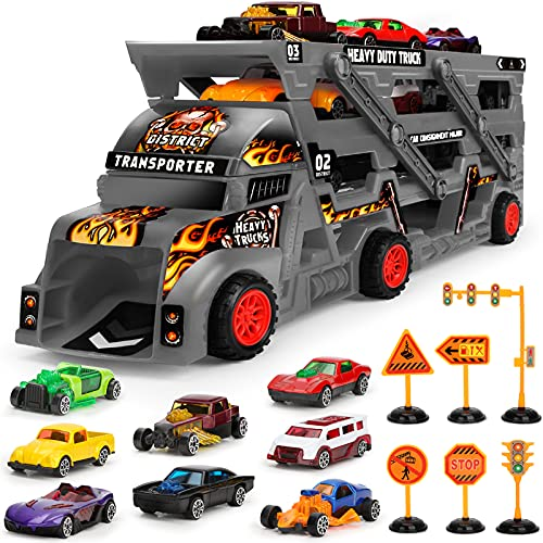 Camion Transportador de Coches con 8 Coches Pequeños, Regalo Coches Juguetes para Niños (Negro)