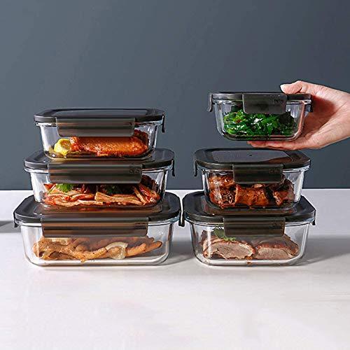 YJHH Vorratsgläser Set, Frischhaltedosen, 6 PCS Stapelbare Vorratsdosen, Multifunktion Transparent Grosse Kapazität Wasserdicht Für Obst Gemüse Ei Fleisch