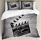 Juego de fundas de edredón de cine, tablero de badajo sobre fondo retro con escena de corte del director de efecto grunge, juego de cama decorativo de 3 piezas con 2 fundas de almohada, blanco negro