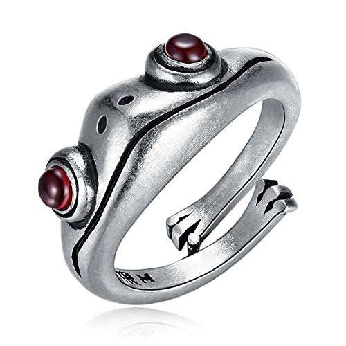 Hypoallergenic Frog Ring 925 Sterling Silver Open Ring with Red Jade Garnet Adjustable Gift for Women and Men (Silver)