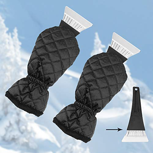 Ice Scraper for Car Windshield with Mitt 2 Pack Snow Ice Scraper Remover Tool with Glove Waterproof Warming Snow Shovel for car Window, Scratch-Free(Black, 2 Pack)