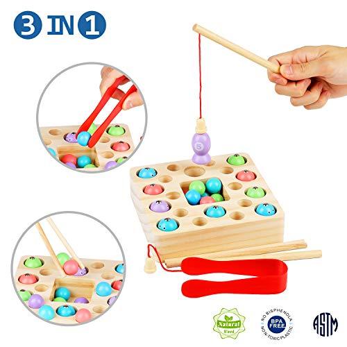 FORMIZON Holzspielzeug Angelspiel, 3 In 1 Angelspiel Montessori Fische Angeln Kinderspielzeug Geschenk Angeln Spielzeug für Mädchen Jungen Kinder