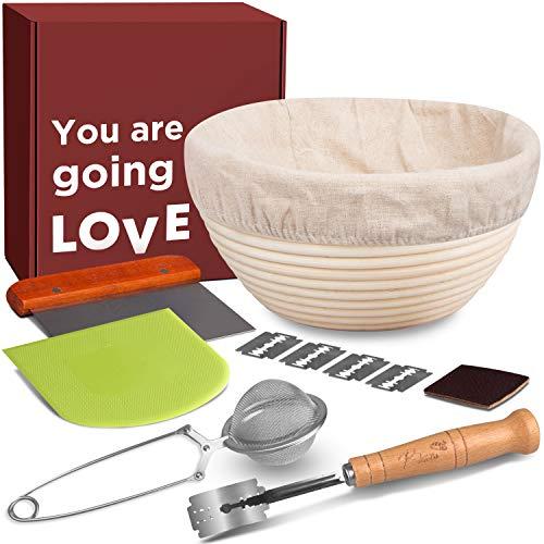 Sourdough Bread Kit Banneton Basket - 1 inch Taller Bread Proofing Basket Set Sourdough Basket Bread Bowl + Banneton Liner + Lame + Dough Scraper + Bench Scraper + Flour Sifter. Best Gifts for Bakers