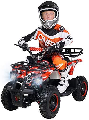 Actionbikes Motors Kinder Elektro Miniquad ATV Torino 1000 Watt 36 Volt - Scheibenbremsen - Umweltfreundlicher Elektromotor (1000 Watt Schwarz Weiß Rot Polo)