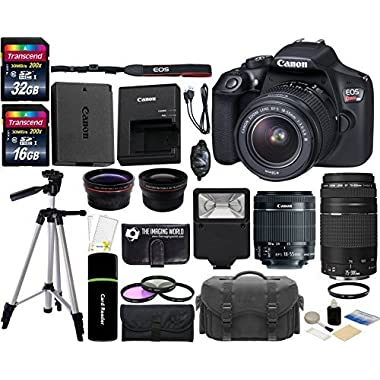 Canon EOS Rebel T6 18MP Wi-Fi DSLR Camera with 18-55mm IS II Lens + EF 75-300mm III Lens + 32GB & 16GB Card + Wide Angle Lens + Telephoto Lens + Flash + Grip + Tripod - 48GB Deluxe Accessories Bundle