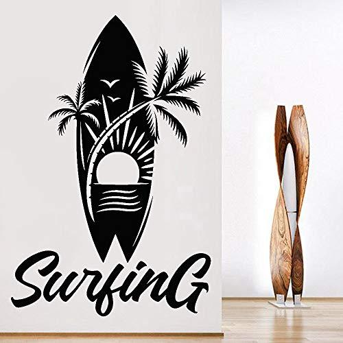 Blrpbc Adhesivos Pared Deportes acuáticos Surf Tabla de Surf Palm Beach Sun Patrón Creativo Vinilo Impermeable Decoración de habitación para Adolescentes 76x50cm