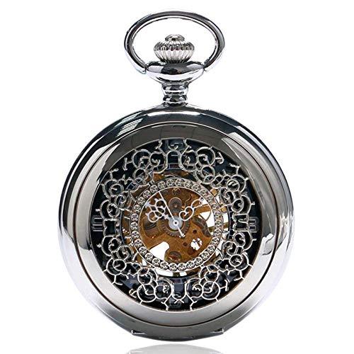 J-Love Reloj de Bolsillo mecánico Steampunk de Acero Plateado a la Moda para Hombres y Mujeres, Reloj de Regalo, Reloj de Bolsillo Hueco Vintage