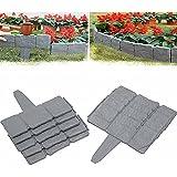 MISS YOU DIY dekorative Blumengras-Bettkanten, Faltbare Nähte-Imitation Stein-Effekt-Kunststoff-Palisadenzaun, für Garten, Rasen, Gehweg (20 stücke)