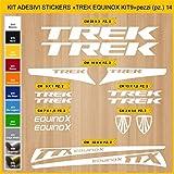 Pimastickerslab Aufkleber Fahrrad TREK EQUINOX_ KIT 9 Kit Aufkleber Stickers 14 Stück – bici Bike Cycle wählbar Cod.0904 (010 BIANCO)