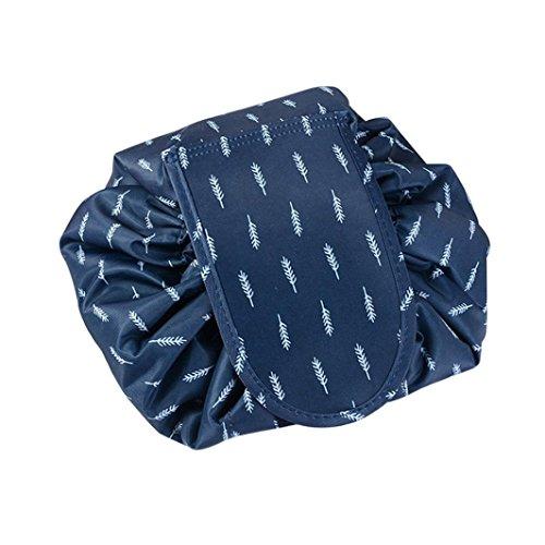 Arpoador Sac cosmétique portable de haute qualité pliable (plumes bleues)