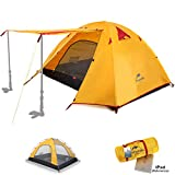 Topnaca 2 3 Person 3 Season Backpacking Tents for Camping, Ultralight Waterproof Vestibule Awning Two Doors Double Layer with Aluminum Rods for Family Beach Hunting Hiking (2-3 Person)