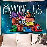 YeeATZ Tapiz divertido para colgar en la pared con diseño de pequeño Among Us telón de fondo, cortinas para colgar en la pared, dormitorio, sala de estar, hogar, manta de playa, póster de 152 x 101 cm