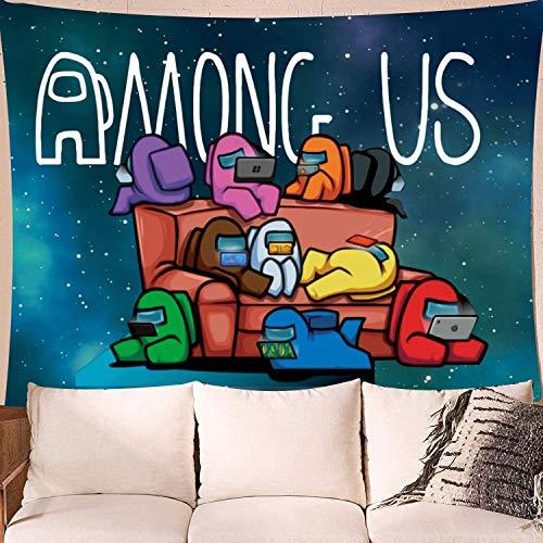 YeeATZ Tapiz divertido para colgar en la pared, diseño con texto 'Among Us Small Among Us Backdrop', decoración popular, 152 x 101,6 cm