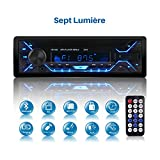 Poste Radio Voiture, Autoradio Bluetooth 1 Din, 7 Couleurs Stéréo Vidéo FM Radio 4x60W Poste Audio avec LCD Microphone Support...