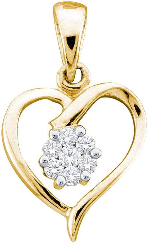 10kt Yellow gold Womens Round Diamond Flower Cluster Heart Pendant 1 12 Cttw