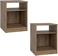 Set of 2 Nightstand MDF End Tables Pair Bedroom Table Furniture Multiple Colors (Gray) (2 Sets Open Space, Rustic Oak)