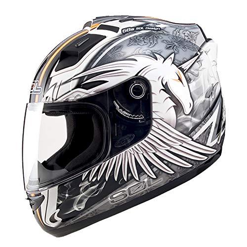 LALEO Persönlichkeit Einhorn Modular Motorradhelm Integralhelm, LED-Warnleuchte Atmungsaktiv Herausnehmbares Futter Damen Herren Cruiser Helmet Jet-Helm DOT Genehmigt (51-64cm),Whitesilver,XXXL