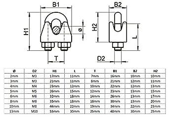 Serre-c/âble duplex en acier inoxydable de 2 mm 10 pi/èces HEAVYTOOL V4A AISI 316 Inox