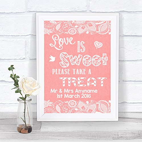 Koraal jute & Kant Effect Liefde is Zoete Snoep Buffet Gepersonaliseerde Bruiloft Teken Print Framed Oak Small Kleur: wit