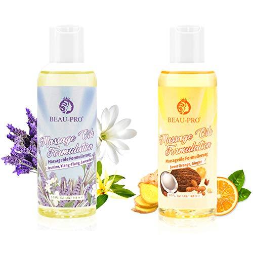 Massageöl Set Massage Oil 2 Pack - 100% Pure Naturrein Ätherische Öle Sinnliches Massage Öle für Muskelentspannung und Beruhigende Haut, Jasmin Lavendel Ylang-Ylang Ingwer Süße Orange Düfte[2x148ml]