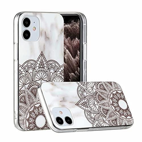 Miagon Marble Case for iPhone 12,Slim Thin Glossy Soft TPU Rubber Gel Cute Women Girls Man Phone Case Cover,Mandala Flower