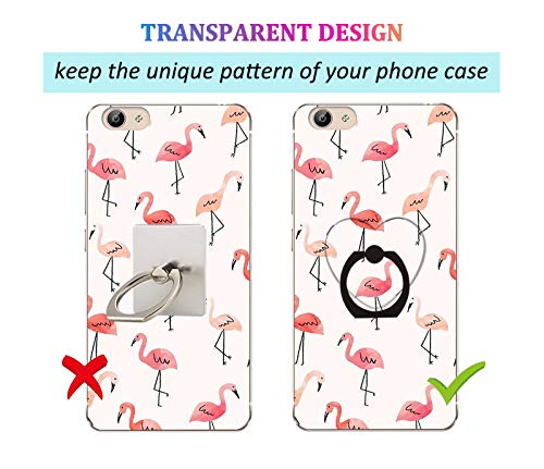 lenoup Transparent Heart Cell Phone Ring Holder Kickstand,360 Rotation Clear Heart Cell Phone Finger Ring Grip Stand for Phones,Pad