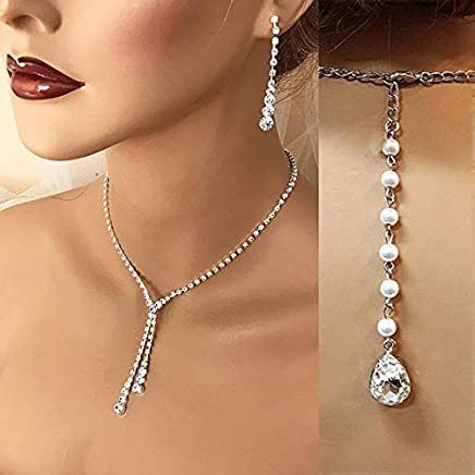 0c32e443a Silver Rhinestone Crystal Necklace Earrings Bridal Wedding Jewelry Set