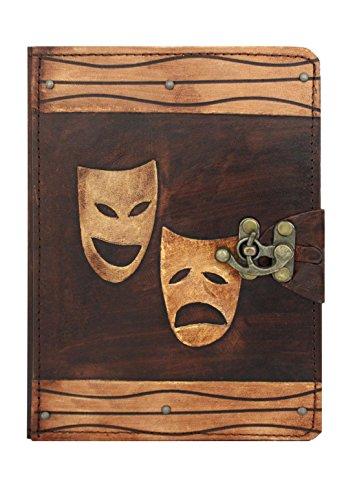 Een klein cadeau Gelukkig Triest Drama Masker Decoratie Vintage Leer Hardcover Portemonneehouder met Flip Stand en Lock voor Apple iPad Air 2 en Air - Bruin