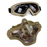 Aoutacc Juego de máscaras y Gafas Airsoft, máscara de Malla de Acero Completa de Media Cara y Gafas para CS/Caza/Paintball/Disparos (IT)